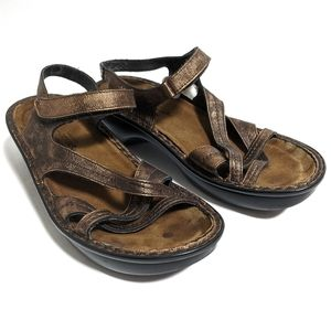 Naot Paris Sandals Burnt Copper Leather Velcro 40